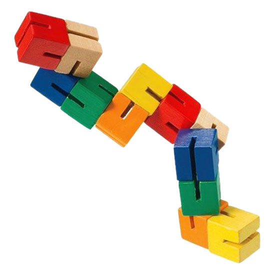 Durable Wooden Puzzle Fidget Toy Composed of 12 Colorful Cubes Strung Together by Heavy Duty Nylon Elastic and Painted with Lead Free Paint.