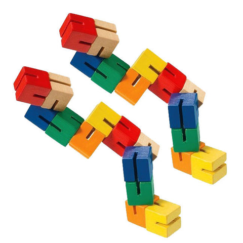 SET of 2 Durable Wooden Puzzle Fidget Toys each Composed of 12 Colorful Cubes Strung Together by Heavy Duty Nylon Elastic and Painted with Lead Free Paint.