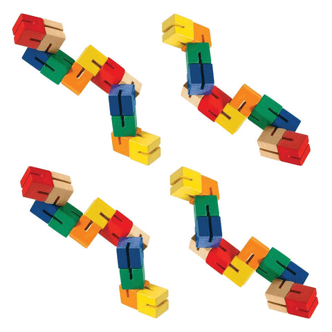 SET of 4 Durable Wooden Puzzle Fidget Toys each Composed of 12 Colorful Cubes Strung Together by Heavy Duty Nylon Elastic and Painted with Lead Free Paint.