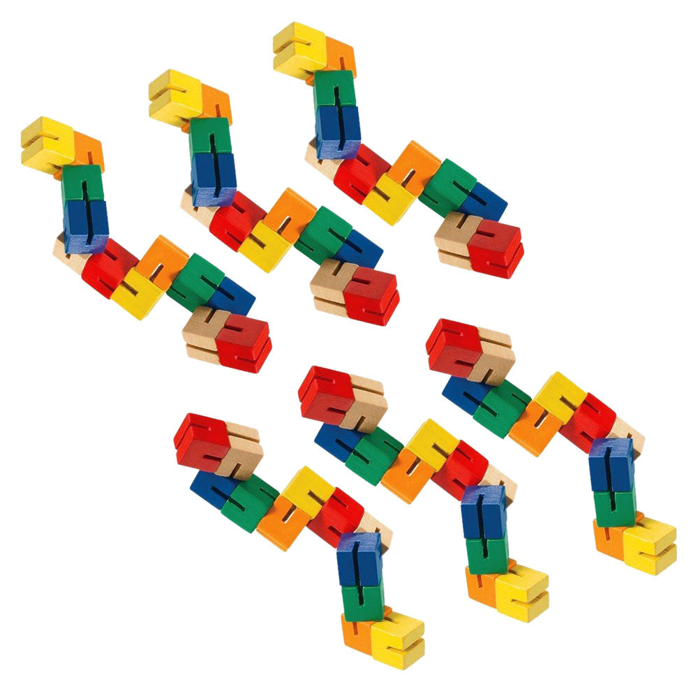 SET of 6 Durable Wooden Puzzle Fidget Toys each Composed of 12 Colorful Cubes Strung Together by Heavy Duty Nylon Elastic and Painted with Lead Free Paint.