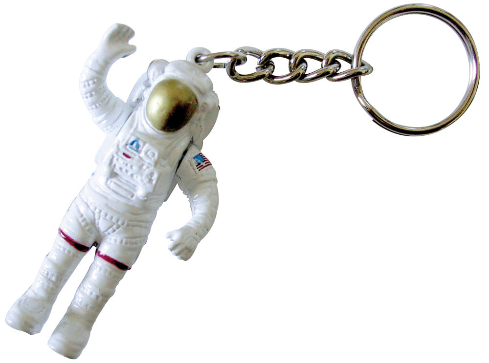 Die Cast Metal Key Chain Replica of a NASA Astronaut with Authentic Markings and Movable Arms measuring 2.25 inches.