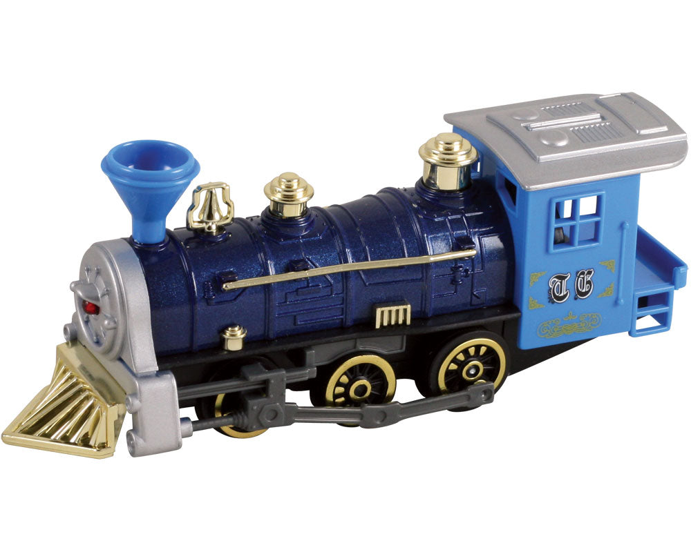 7 Inch Long Blue Durable Die Cast Metal and Plastic Steam Locomotive Train featuring Friction Powered Pullback Action and Working Side Rails.