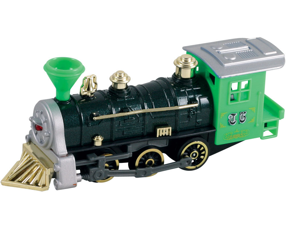 7 Inch Long Green Durable Die Cast Metal and Plastic Steam Locomotive Train featuring Friction Powered Pullback Action and Working Side Rails.
