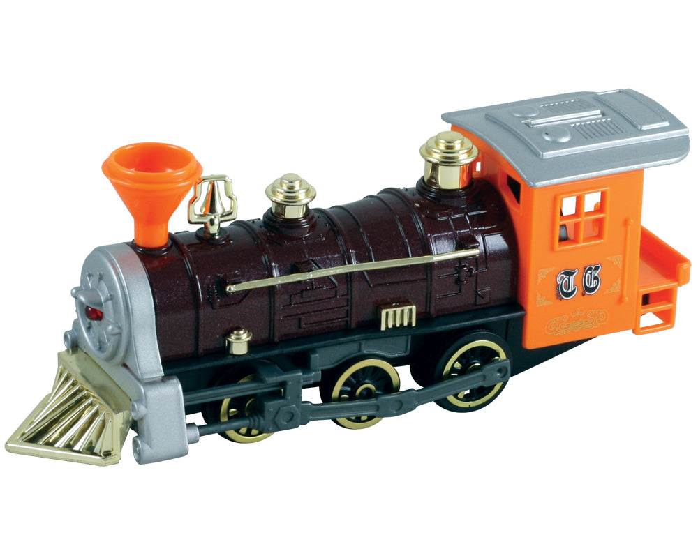 7 Inch Long Orange Durable Die Cast Metal and Plastic Steam Locomotive Train featuring Friction Powered Pullback Action and Working Side Rails.