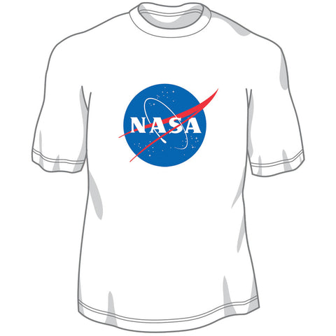 100% Preshrunk, Heavyweight White Cotton Short Sleeve T Shirt featuring Screen Printed Official NASA Logo Insignia on the Front.