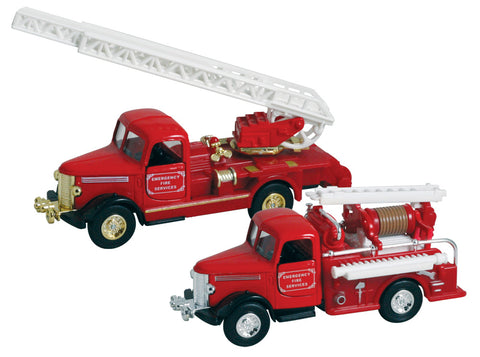 Realistic Vintage Red Die Cast Metal Fire Engine from the 1940s Featuring Friction-Powered Pullback action, Doors that Open and Working Ladders.