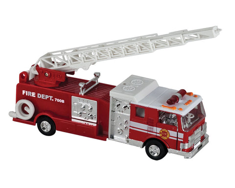 7.5 Inch Long Bright Red Fire Truck Engine with Friction Powered Pullback Action, Opening Doors, Swiveling Extendable Ladder and Realistic Lights & Sounds.