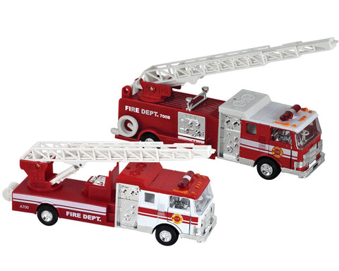 SET of 2 7.5 Inch Long Bright Red Fire Truck Engines with Friction Powered Pullback Action, Opening Doors, Swiveling Extendable Ladders and Realistic Lights & Sounds.