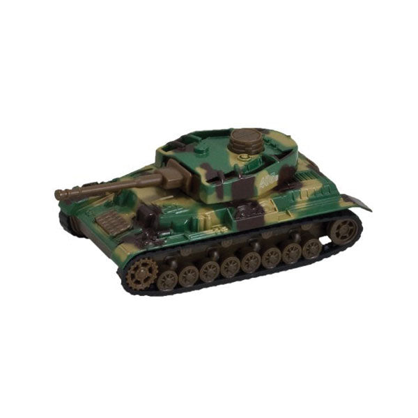 5 Inch Long Durable Die Cast Metal Friction Powered Pullback Action  Camouflage Military Tank with Turret that moves Up and Down Manually and Side to Side when Moving Along. Comes in 6 Assorted Styles.
