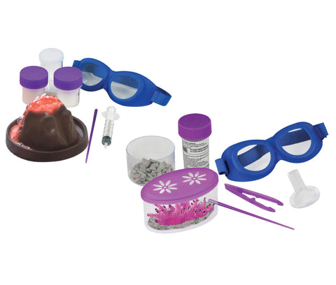 SET of 2 Safe, Educational Hands On Science Kits including Volcanic Eruption Kit and Crystal Growing Kit both featuring Everything Needed for Assembly and Educational, Easy to Follow Experiment Guides.
