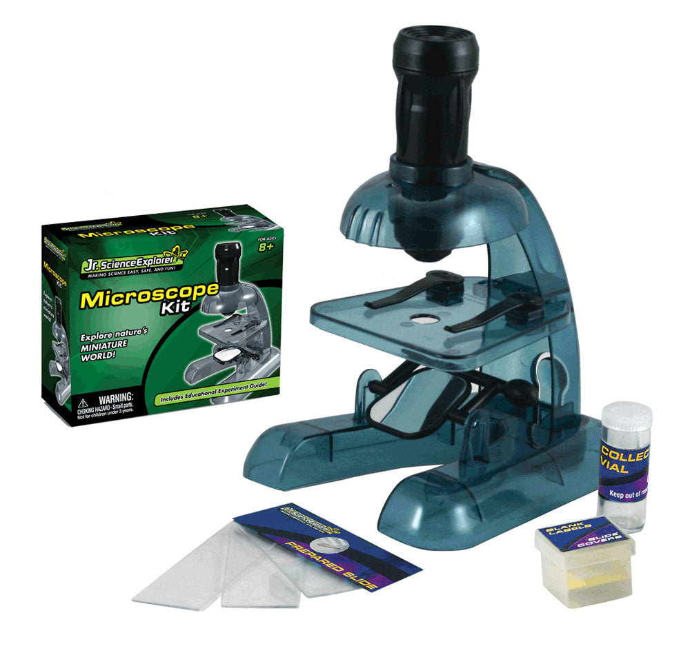 Safe, Educational Plastic Working Microscope Science Kit that Requires Assembly and features 50x Magnification Lens, Blank and Prepared Slides, Collecting Vial and Educational, Easy to Follow Experiment Guide.