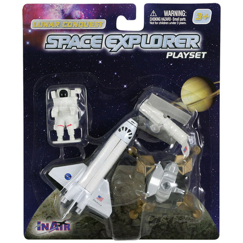 4 Piece Die Cast Metal and Plastic NASA Lunar Conquest Playset including Space Shuttle Orbiter, Lunar Lander, Satellite and Astronaut in EMU Space Suit in its Original Packaging.
