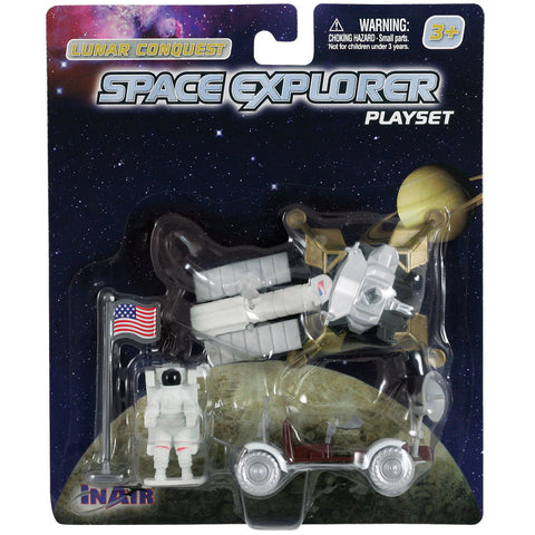 5 Piece Die Cast Metal and Plastic NASA Lunar Rover Playset including Lunar Lander, Lunar Rover, Satellite, Astronaut and an American Flag in its Original Packaging.