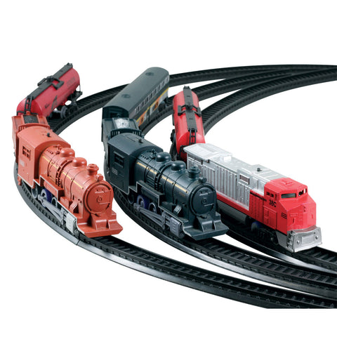 SET of 3 10-Piece Battery Operated Die Cast Metal and Plastic Hobby Model Scout Series Train Sets Steam & Diesel Engine and Freight Cars each Including 8 Sections of Snap Together Track to Make a 6 Foot Circle.