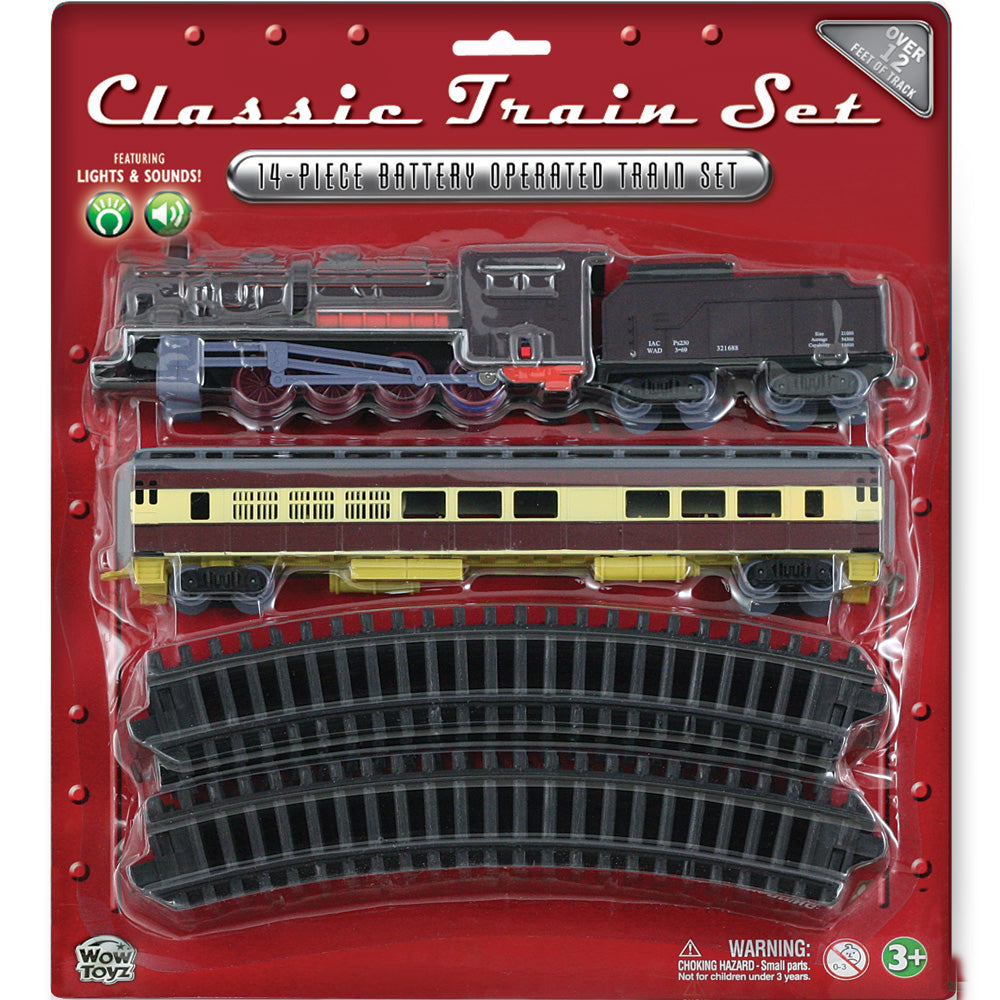 14-Piece Battery Operated Die Cast Metal and Plastic Hobby Model Classic Train Set with Lights & Sounds Steam Engine, Coal Car, Passenger Car, and 12 Sections of Curved Track. Comes in Convenient Reusable Carrying Case.