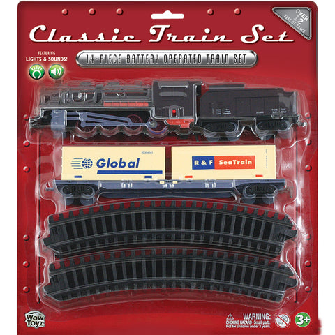 WowToyz Classic Train Set 14 piece - Steam Engine with Cargo Containers