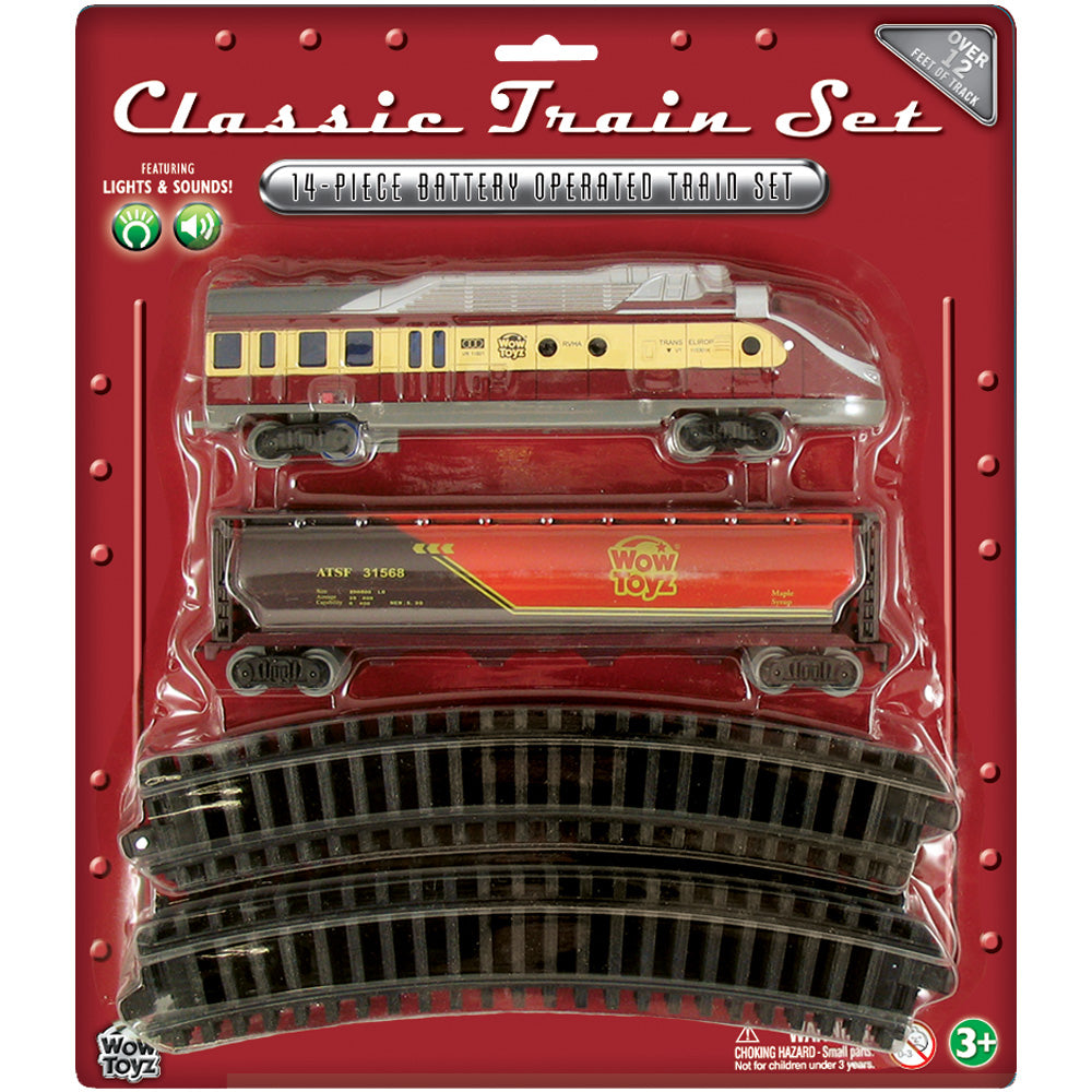 14-Piece Battery Operated Die Cast Metal and Plastic Hobby Model Classic Train Set with Lights & Sounds Diesel Engine, Tanker Car, and 12 Sections of Curved Track. Comes in Convenient Reusable Carrying Case.
