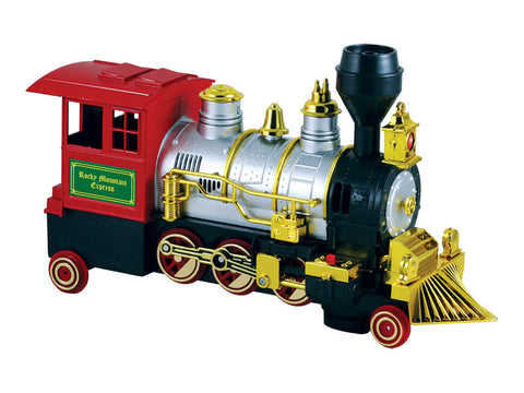 Battery Powered Colorful Die Cast Metal and Plastic Steam Locomotive Featuring Authentic Horn Sounds, Working Headlights, and Freewheeling Bump-and-Go Action.