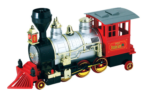 Large Colorful Die Cast Metal and Plastic Steam Locomotive Featuring Authentic Horn Sounds, Working Headlights, and Freewheeling Bump-and-Go Action.