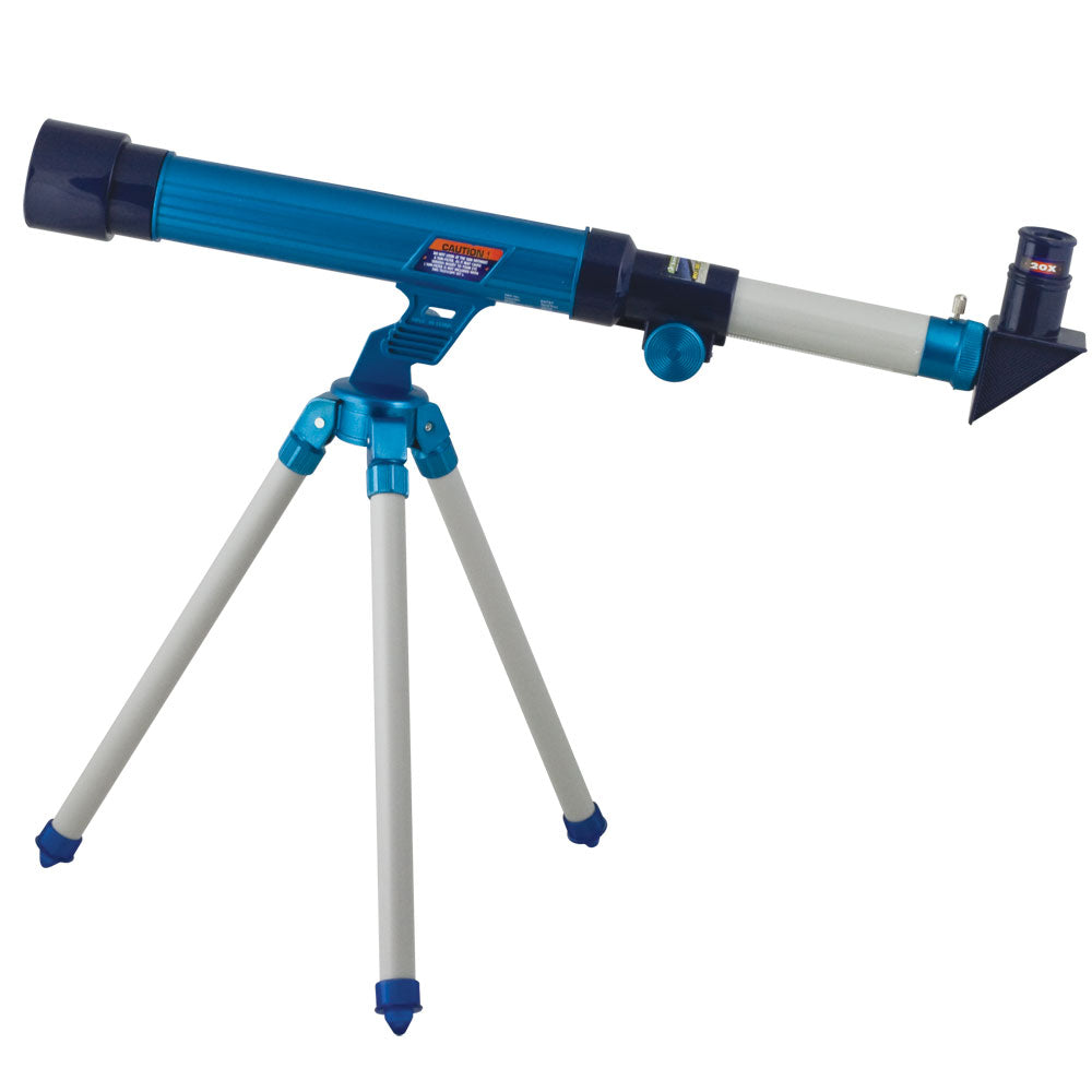 15 Inch Long Durable Lightweight Blue Telescope for Kids with 30mm Objective Lens, 20x, 30x, & 40x Magnification Lenses, Tabletop Tripod and Educational, Easy to Follow Experiment Guide.