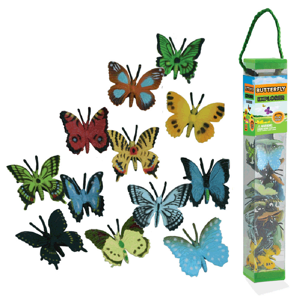 Durable Plastic Tube Playset containing 24 Assorted Colorful Butterflies with a Full Color Playmat Included.