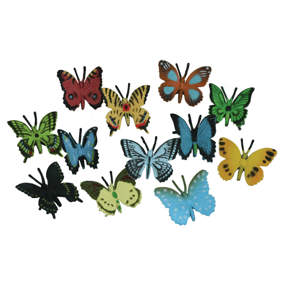 24 Assorted Colorful Durable Plastic Butterflies measuring 1.5 inches each.