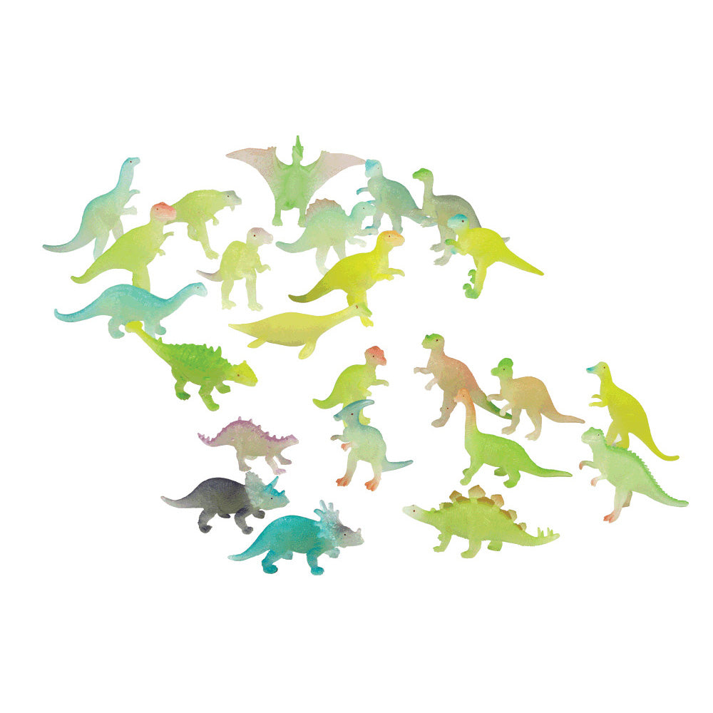 24 Assorted Colorful Durable Plastic Glow in the Dark Dinosaurs measuring 1.5 inches each.