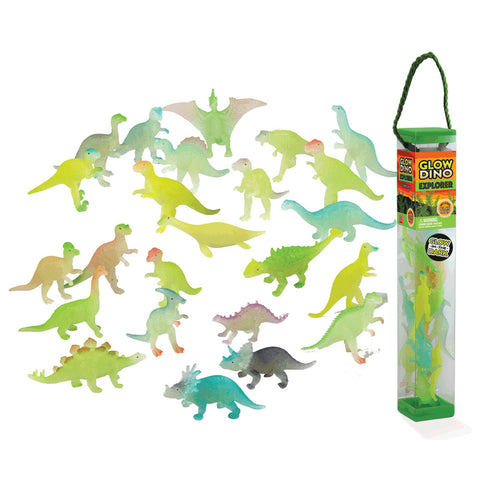 Durable Plastic Tube Playset containing 24 Assorted Colorful Glow in the Dark Dinosaurs with a Full Color Playmat Included.