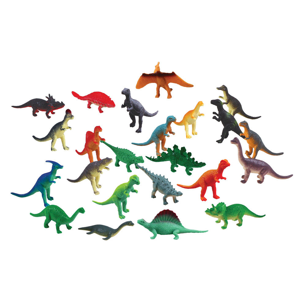 24 Assorted Colorful Durable Plastic Dinosaurs measuring 1 inches each.
