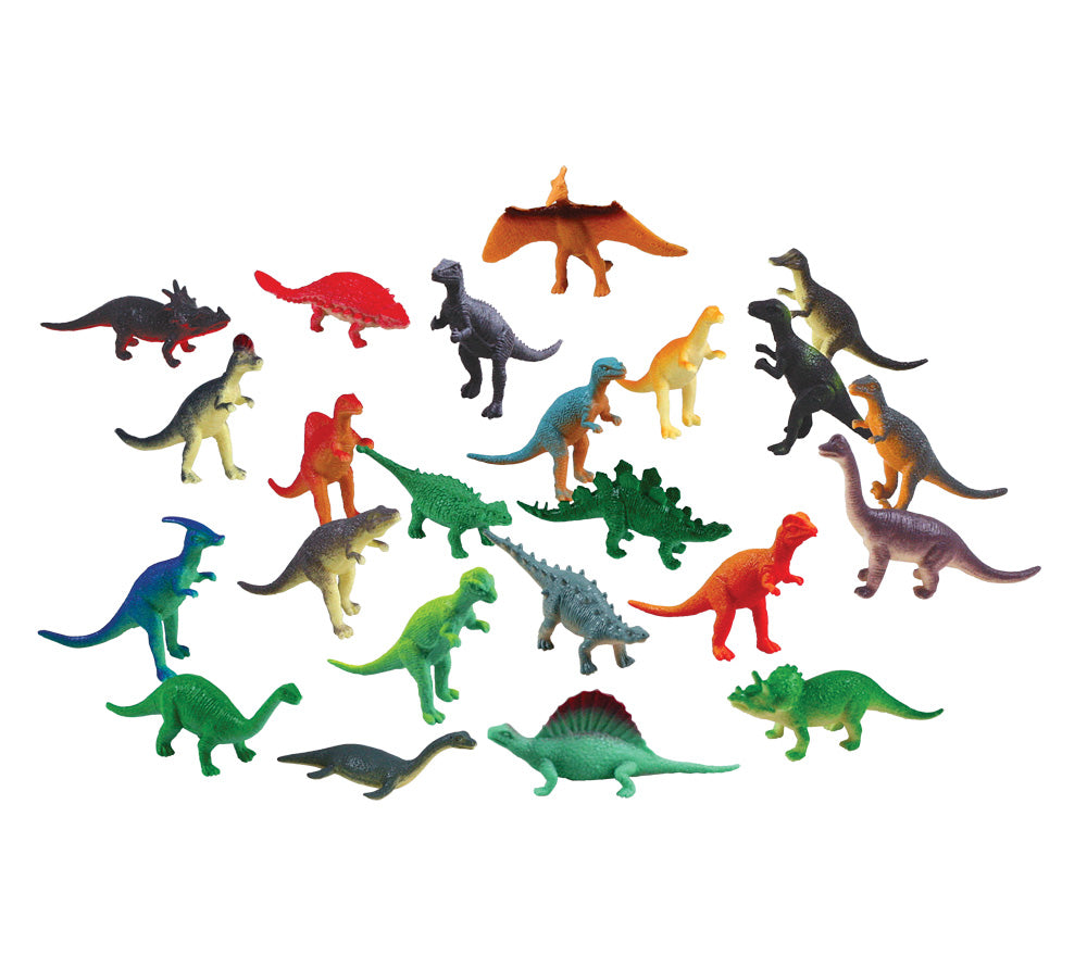 24 Assorted Colorful Durable Plastic Dinosaurs measuring 1 inch each.