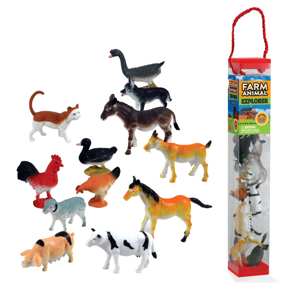 Durable Plastic Tube Playset containing 12 Assorted Colorful Farm Animals with a Full Color Playmat Included.