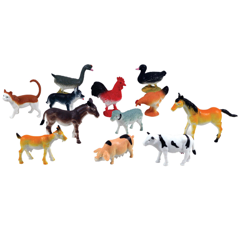 12 Assorted Colorful Durable Plastic Farm Animals measuring 2 inches each.
