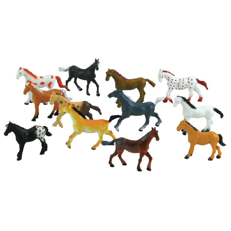 12 Assorted Colorful Durable Horses measuring 2 inches each.