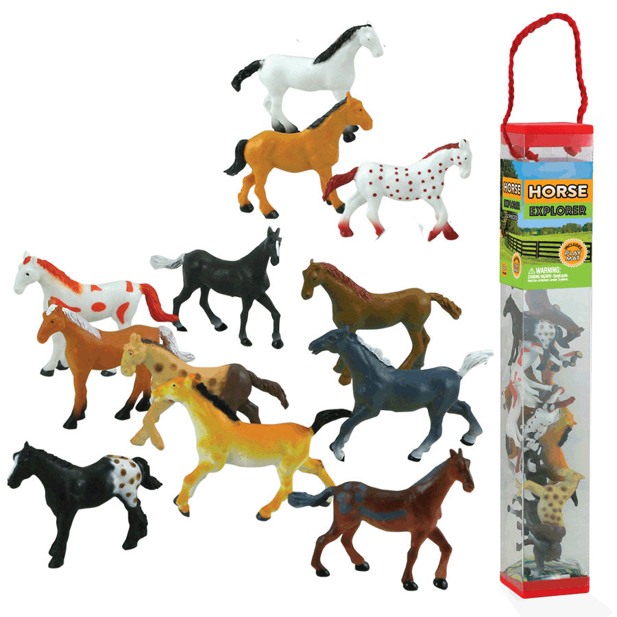 Durable Plastic Tube Playset containing 12 Assorted Colorful Horses with a Full Color Playmat Included.