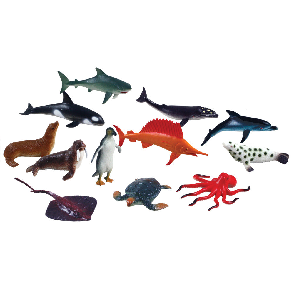 12 Assorted Colorful Durable Sea Creatures measuring 2.5 inches each.