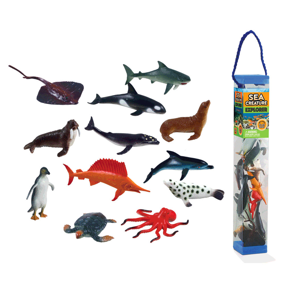 Durable Plastic Tube Playset containing 12 Assorted Colorful Sea Creatures with a Full Color Playmat Included.