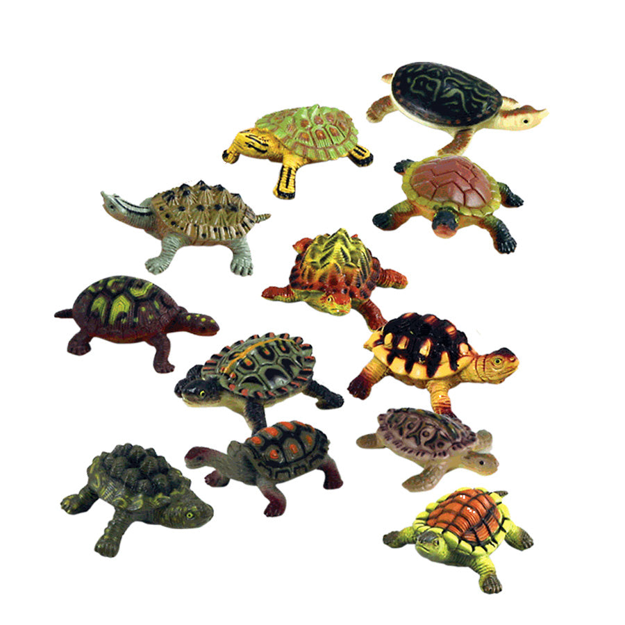 12 Assorted Colorful Durable Plastic Turtles measuring 2 inches each.