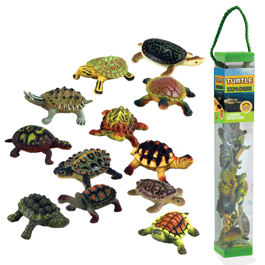 Durable Plastic Tube Playset containing 12 Assorted Colorful Turtles with a Full Color Playmat Included.