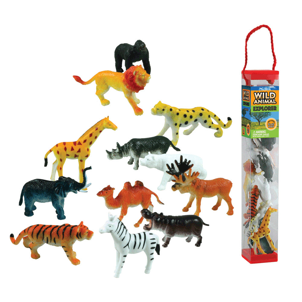 Durable Plastic Tube Playset containing 12 Assorted Colorful Wild Animals with a Full Color Playmat Included.