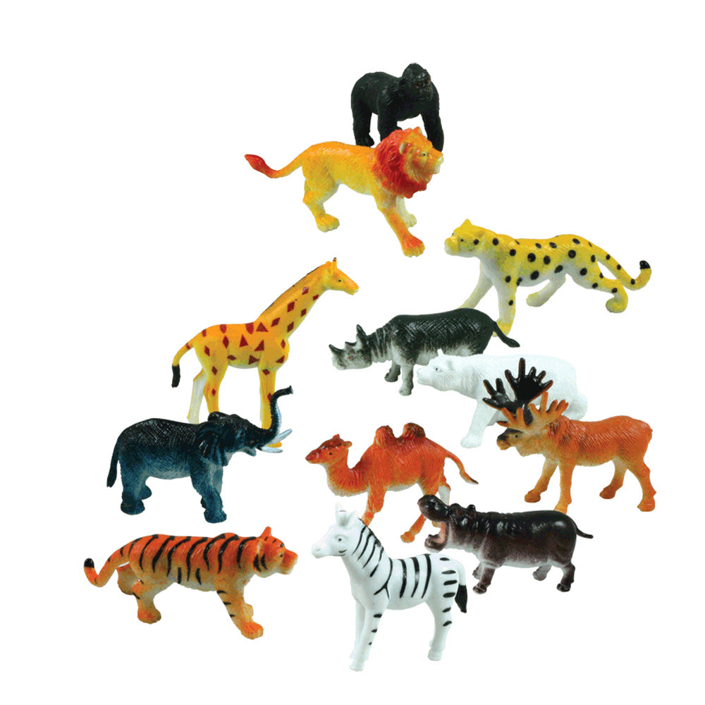 12 Assorted Colorful Durable Plastic Wild Animals measuring 2 inches each.