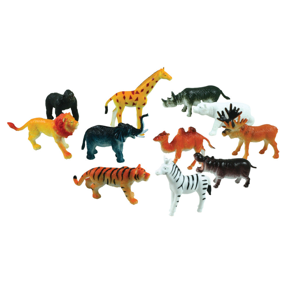 12 Assorted Colorful Durable Plastic Wild Animals measuring 2.5 inches each.