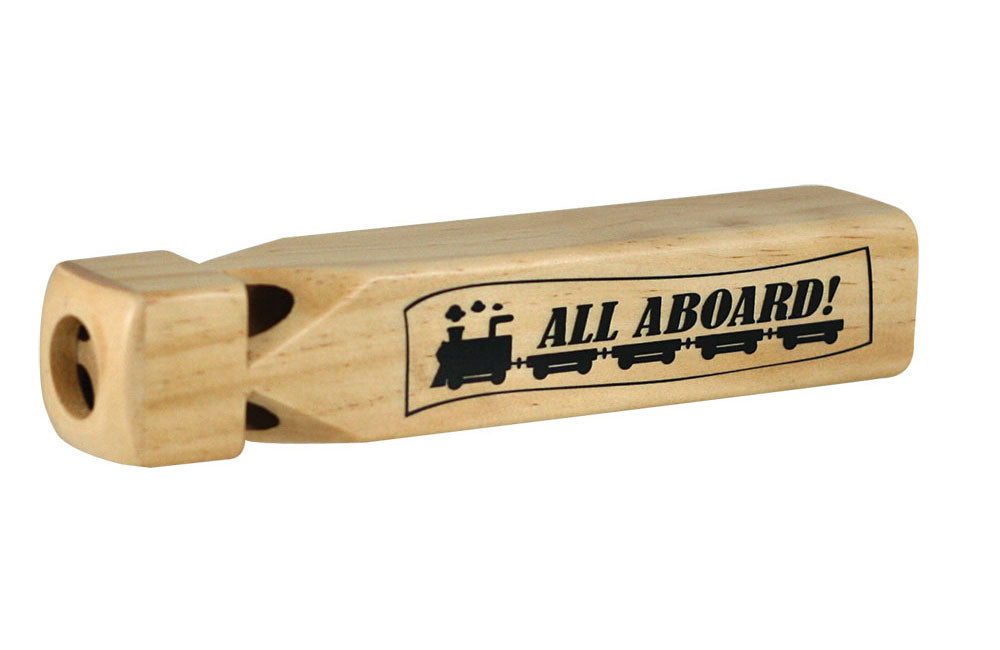 "8 Inch Long Durable Four Chambered Wooden Train Whistle with ""All Aboard"" illustration printed on the side. Wood harvested from government approved reforested land."
