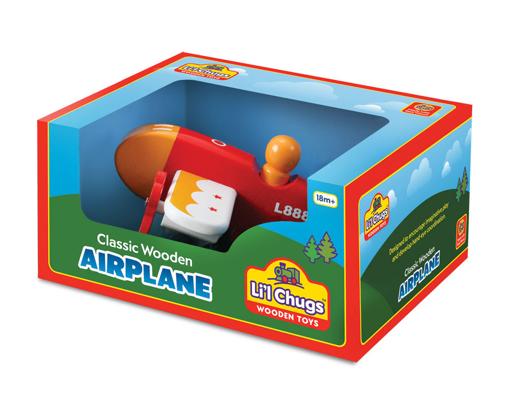 7.5 Inch Durable Colorful Wooden Airplane with Rolling Wheels and Spinning Props in its Original Packaging.