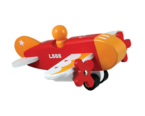 7.5 Inch Durable Colorful Wooden Airplane with Rolling Wheels and Spinning Props. Wood Harvested from Sustainably Managed Forests.