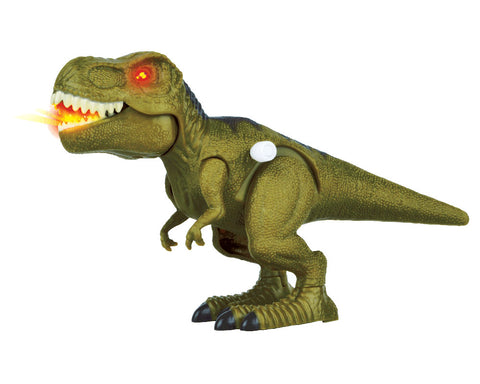 8 Inch Long Durable Plastic Realistic Wind Up Tyrannosaurus T-Rex Dinosaur that includes Light Up Eyes & Tongue, Stomping Action and Roaring Sounds.