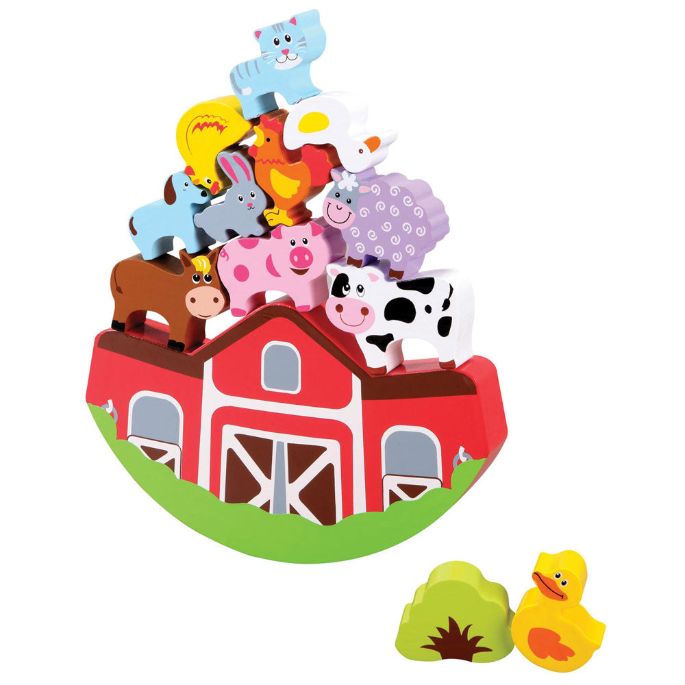 Sturdy Wooden 13 Piece Barnyard Playset with Wooden Wobbling Barn and 12 Colorful Farm Animals to Stack and Balance on Top. Wood harvested from government approved reforested land.