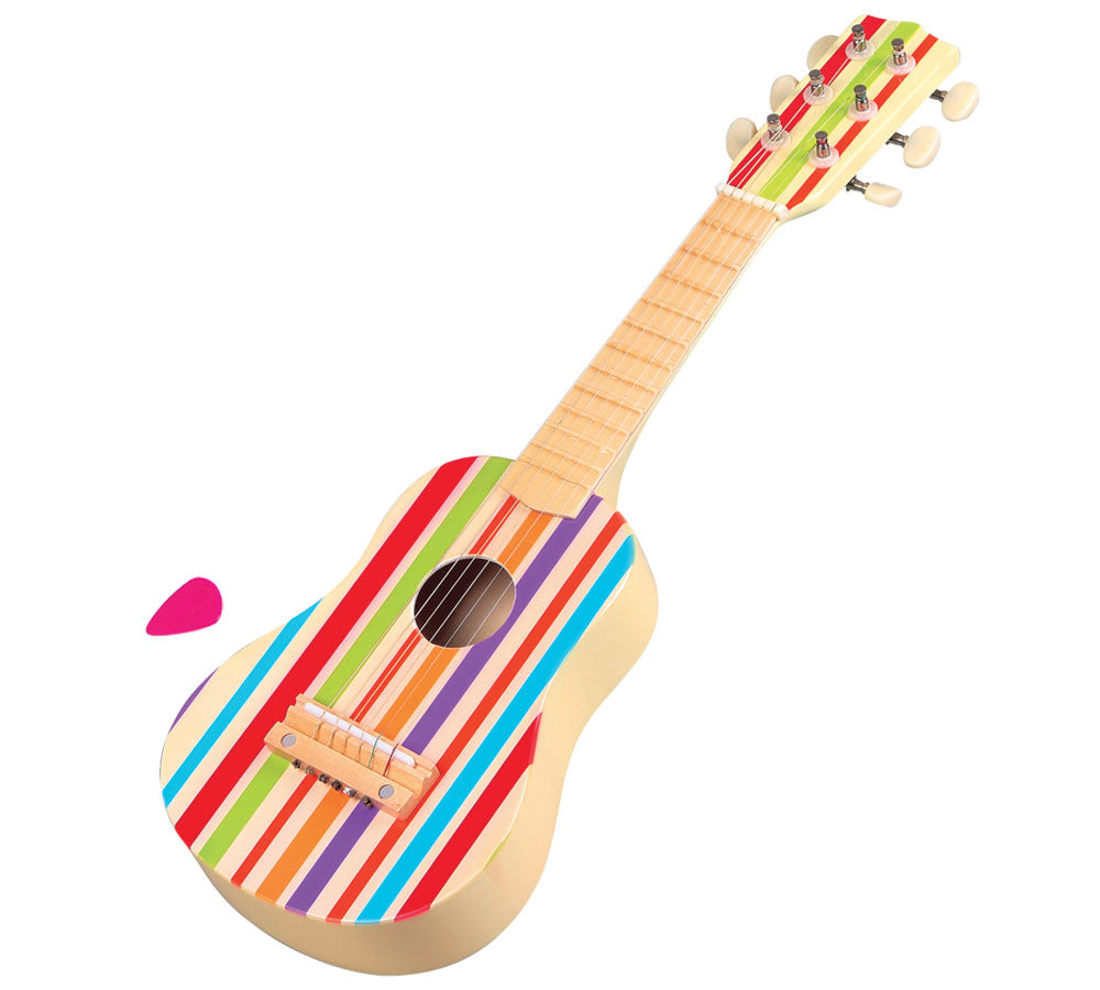 Authentically Detailed 21 Inch Colorful Striped Children's Wooden Guitar with 6 Tunable Strings, Replacement Strings and Guitar Pick. Wood harvested from government approved reforested land.