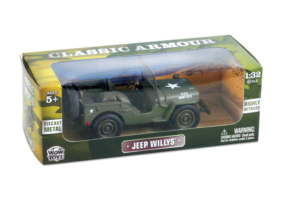 1:32 Scale Die Cast Authentic Replica of a World War II Military Jeep Willys in Army Green in its Original Packaging by Classic Armour.