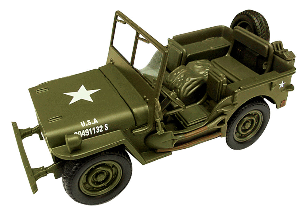 1:32 Scale Die Cast Authentic Replica of a World War II Military Jeep Willys in Army Green by Classic Armour.