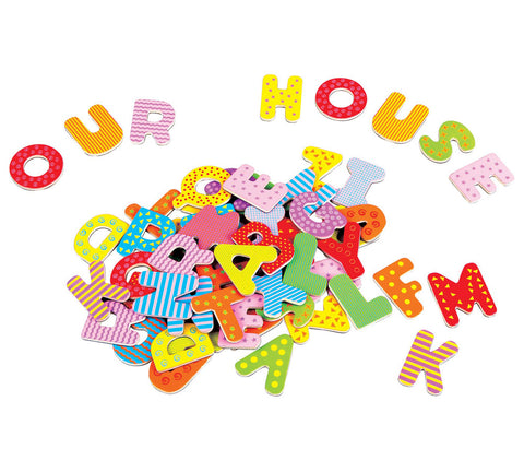 Set of 60 Durable Colorful Wooden Magnetic Letters each measuring 1.75 Inches Tall.